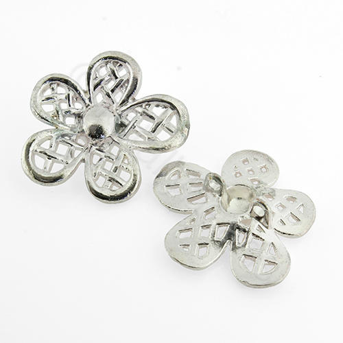 Silver Metal Connector - Flower 31mm 3pcs