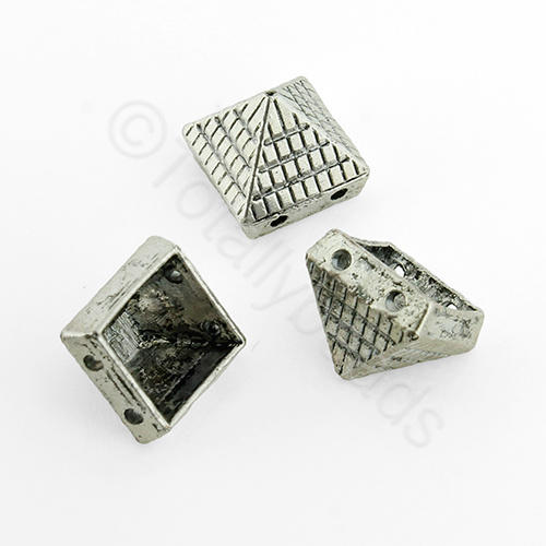 Antique Silver Metal Bead - Pyramid 11x9mm 10pcs - H1228