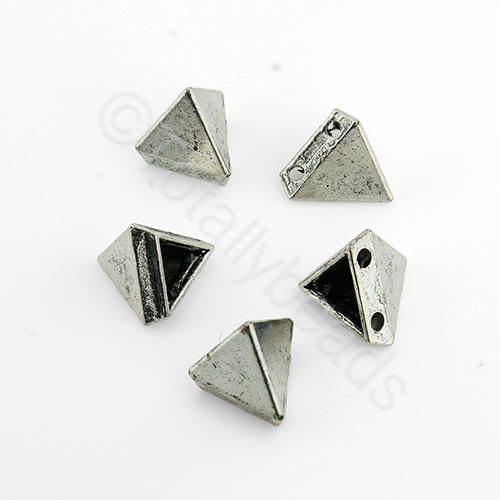 Antique Silver Metal Bead - Tetrahedron 9mm 18pcs - H1239