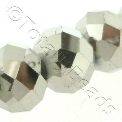 Crystal Rondelle 10x14mm - Silver Plate