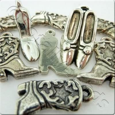 Acrylic Charms - Antique Silver - Shoes
