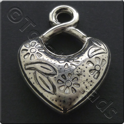 Metalised Antique Silver Heart 24x33x7mm - Twisthook