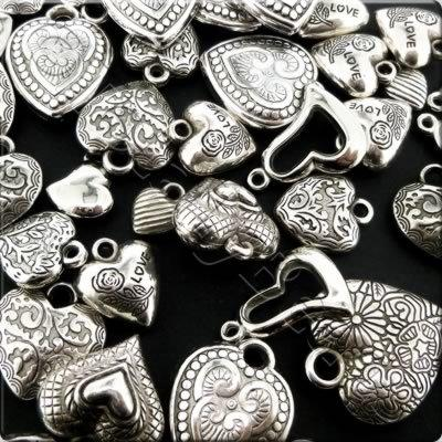 Acrylic Charms - Antique Silver - Hearts