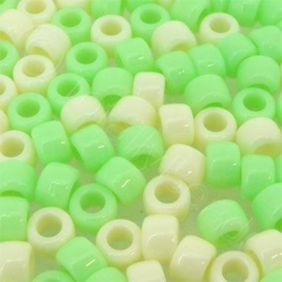 Pony Beads 8mm - Green-Cream