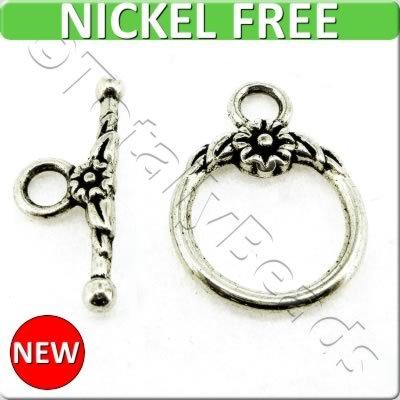Antique Silver Metal Toggle - Flower Ring 17mm 6 sets - A8699