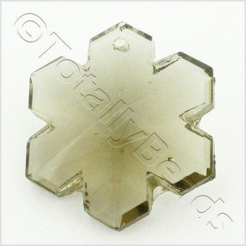 Glass Pendant Snowflake 29mm - Grey