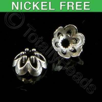 Antique Silver Bead Cap - 7x4mm - 6 Petal