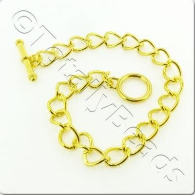 Chain Bracelet - Gold Plate - Oval Twist with Toggle Clasp