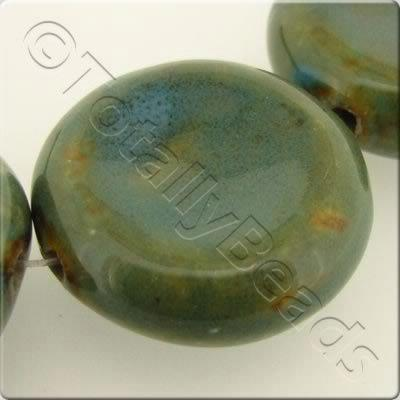 Ceramic Beads - Concave Disc 40mm - Turquoise