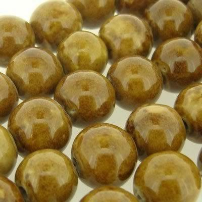 Ceramic Beads - Round 15mm - Light Brown