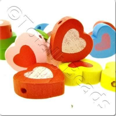 Childrens Wooden Bead - Painted Heart