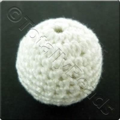 Crochet Bead 22mm - White