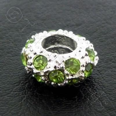 Diamante Large Hole Rondelle Spacer - 11x6mm - Peridot