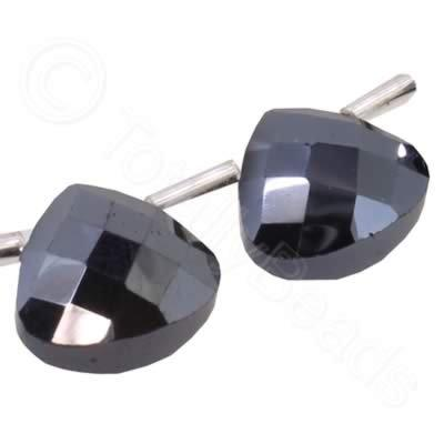 Crystal Flat Drop 10mm - Hematite