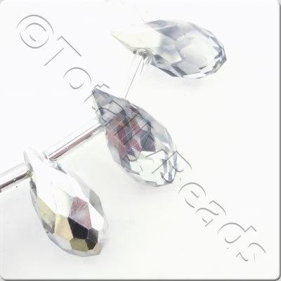 Crystal Drop Top Drilled 6x12mm - Half Silver