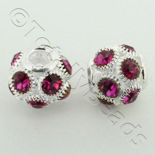 Large Hole Round Rhinestone Spacer Bead 14mm - Fuchsia