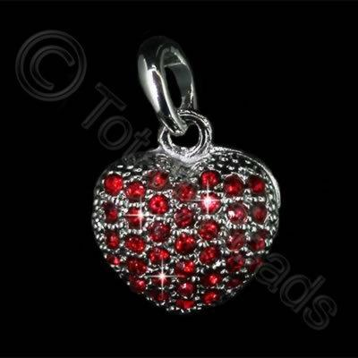 Diamante Pendant - Small Heart - Light Siam
