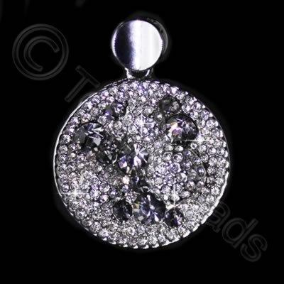 Diamante Pendant - Round Bubbles - Crystal + Black Diamond