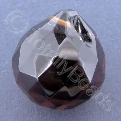 Glass Pendant Drop Round Amber - 21mm