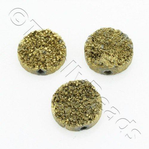 Druzy Bead Disc 12mm - Gold Plate