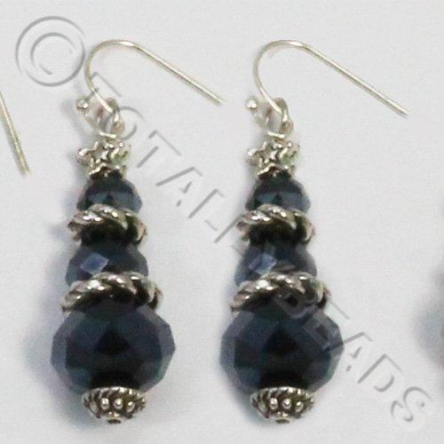 Christmas Tree Earrings - Hematite