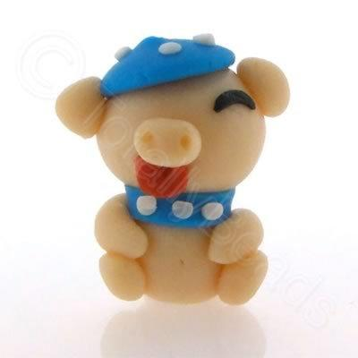 Fimo Doll Bead - Pig in Blue