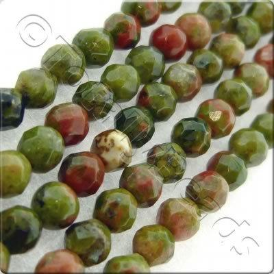 Unakite 3mm Facet Round