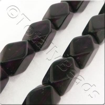 Glass Facet Cuboid - 12x7mm - Dark Amethyst - 27pcs