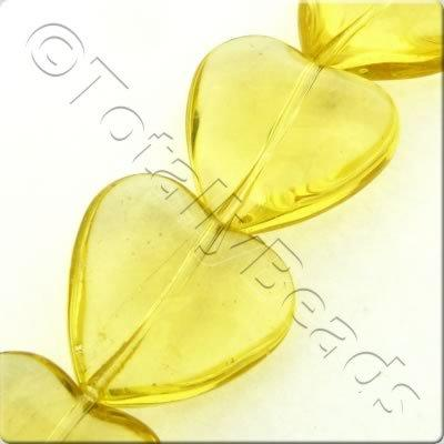 Glass Heart - 20mm - Dark Citrine - 17pcs