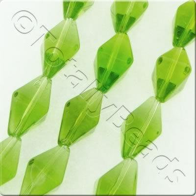 Glass Bipyramid - 15x8mm - Green - 20pcs