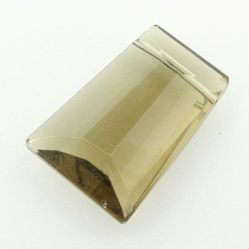 Glass Bead Facet Rectangle 20mm - SmokeQuartz
