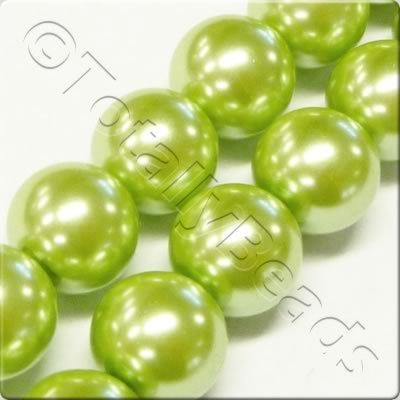 Glass Pearl Round 8mm Light Olive Grade B