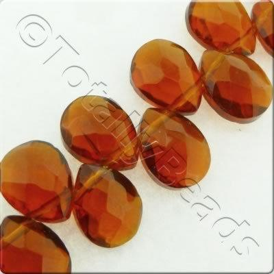 Top Drilled Facet Drop - 12x9mm - Dark Amber - 47pcs