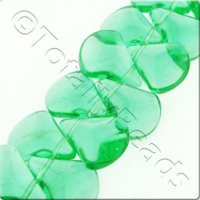 Glass Axe Drop - 17x14mm - Forest Green - 47pcs
