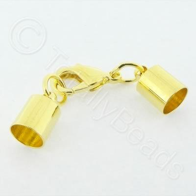 Kumihimo 7mm Barrel Lobster Clasp Gold - 2 sets