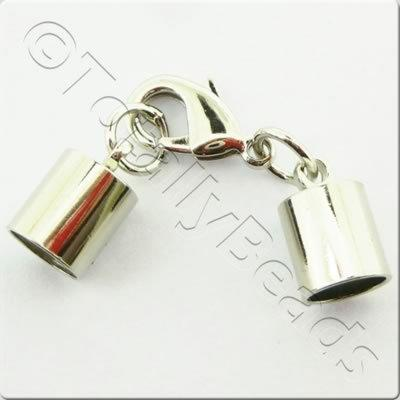 Kumihimo 8mm Barrel Lobster Clasp Rhodiumn - 1 set