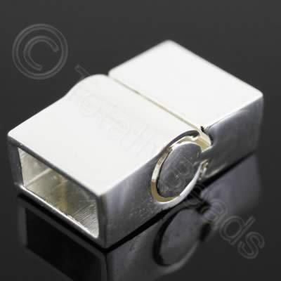 Magnetic Clasp - Sliding Square 20mm - Silver