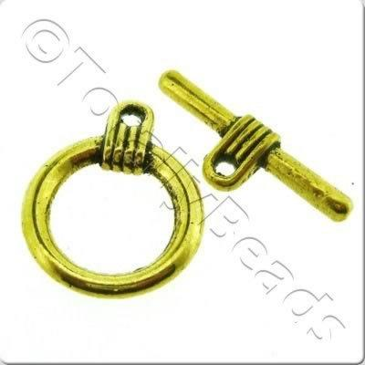 Tibetan Gold Toggle - Ring 16mm A1191