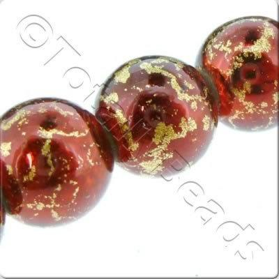 Gold Shimmer Glass Beads Round - Dark Red