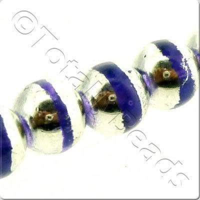 Half Silver Round Glass Bead - Purple