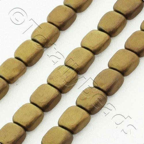 Hematite Flat Square 4mm - Matt Bronze Plated