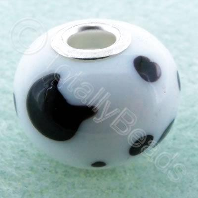 Lampwork Large Hole Bead 20mm - White with Black dots