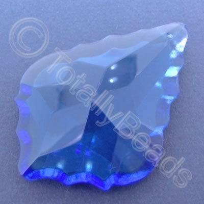 Glass Pendant Leaf Drop Blue - 62mm