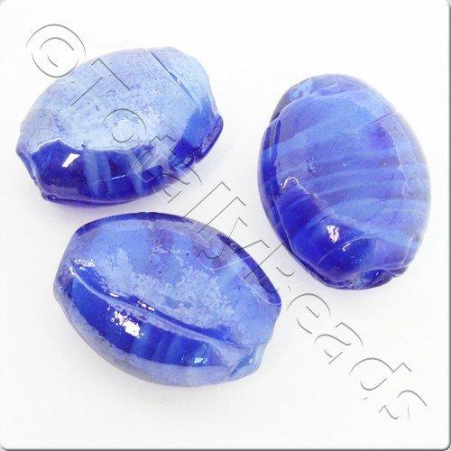 Lampwork Glass Bead Oval 22mm - Dark Blue Swirl Luster