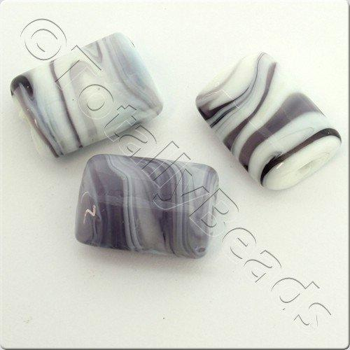 Lampwork Glass Bead Rectangle 21mm - Purple White Swirl