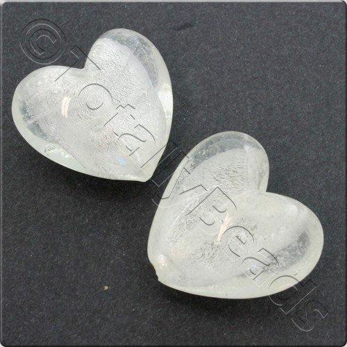 Lampwork Glass Bead Heart 28mm - Clear