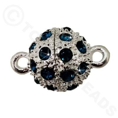 Magnetic Clasp Spotted Round 12mm Teal Crystals - Silver