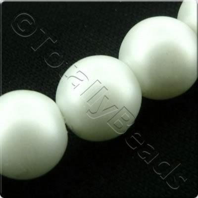 Glass Pearl Round Matt Finish - White