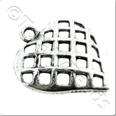 Tibetan Silver Charm - Small Lattice Heart