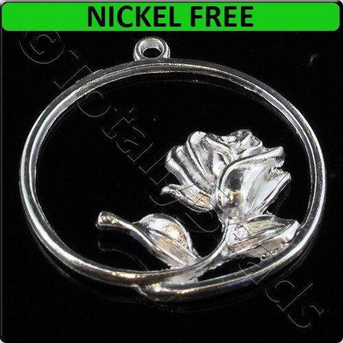 Silver Metal Charm Rose Ring 34mm 3pcs